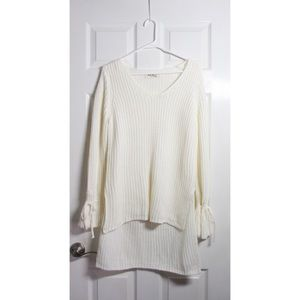 High-low Knit Ivory Sweater